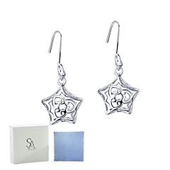 SILVERAGE Sterling Silver Star Filigree Drop Dangle Earrings