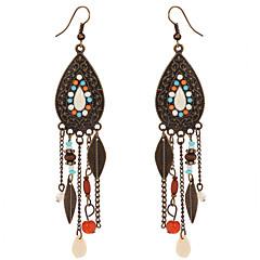 Vintage 2016 Bohemia Colorful Beads Leaves Dangle Earrings Antique Bronze Plated Long Tassel Earrings For Women Boho Jewelry