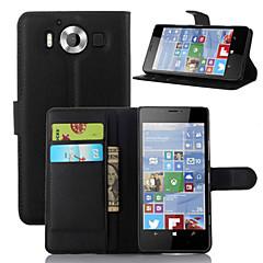 Varten Nokia kotelo Lomapkko / Korttikotelo / Tuella Etui Kokonaan peittävä Etui Yksivärinen Kova Tekonahka NokiaNokia Lumia 950 / Nokia