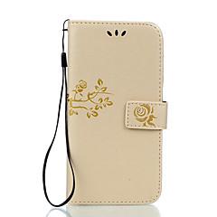 Voor Kaarthouder Portemonnee met standaard Flip Reliëfopdruk hoesje Volledige behuizing hoesje Bloem Hard PU-leer voor LGLG K10 LG K7 LG