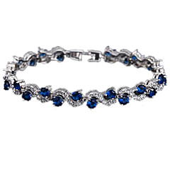 Women's Tennis Bracelet Zircon Cubic Zirconia Copper Platinum Plated Simulated Diamond Fashion White Green Blue Jewelry 1pc
