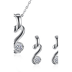 Jewelry Set AAA Cubic Zirconia Brass Silver Plated Simulated Diamond Wedding Party Daily Casual 1set 1 Necklace 1 Pair of EarringsWedding
