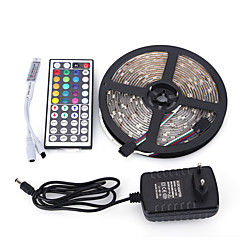 5M 300SMD 5050 Waterproof 44Keys IR Remote Controller 12V3A Power Supply LED Strip Light Sets AC100-240V