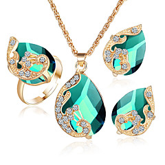 Wedding Gifts Female Austrian Peacock Crystal Zircon Drop Pendant Necklace Earring Ring Three Piece Set