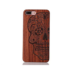For Stødsikker Præget Mønster Etui Bagcover Etui Dødningehoved Hårdt Træ for AppleiPhone 7 Plus iPhone 7 iPhone 6s Plus/6 Plus iPhone