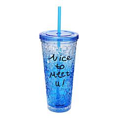 Transparent Sport To-Go Utomhus Dryckesaccessoarer, 650 ml värmelagrande BPA Free Plast Öl Juice vakuum Cup Dricksglas