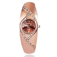 Γυναικεία Μοδάτο Ρολόι Ρολόι Καρπού Χαλαζίας / απομίμηση διαμαντιών Με Επίστρωση Ροζ Χρυσού κράμα Μπάντα Καθημερινά ΚομψήΚαφέ Χρυσό