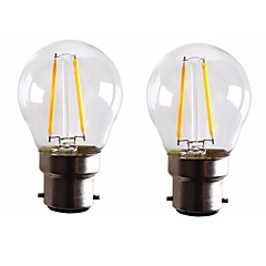 2W B22 LED-glödlampor G45 2 COB 200 LM Varmvit Dimbar AC 220-240 AC 110-130 V 2 st