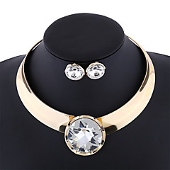 European and American fashion metallic exaggerated punk glossy female collar diamond necklace set # 0218
