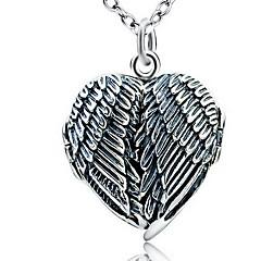 Dames Hangertjes ketting Sieraden Enkele Draad Hartvorm Sieraden Wings Sterling zilver Basisontwerp Liefde Vintage Modieus Sieraden Voor