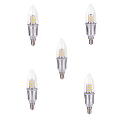 5pcs 9W E14 45XSDM2835 Cool White Color Silver Shell Led Candle Light Screw Thread Led Bulbs Chandelier Lamps AC220-240V