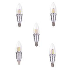 9W E14 LED-lysestakepærer C35 45 SMD 2835 850 lm Kjølig hvit Dekorativ AC 220-240 V 5 stk.
