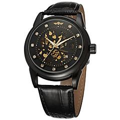 Herren Damen Unisex Kleideruhr Modeuhr Armbanduhr Mechanische Uhr Automatikaufzug Echtes Leder Band Bettelarmband Bequem Luxuriös