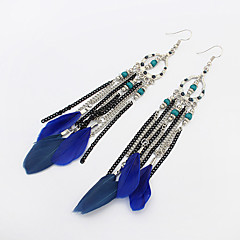 Women Drop Earrings Jewelry Alloy Bead Feather Tassel 1 pair