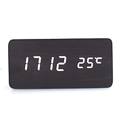 RayLineDo® Latest Design Fashion Black Wood White LED Light Wooden Digital Alarm Clock -Time Temperature Date Display - Voice and Touch Activated