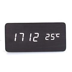 raylinedo® dernière blanc bois noir design de mode affichage LED réveil numérique -time date de température en bois clair - la voix et le