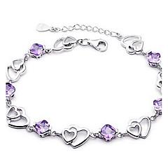 Chain Bracelet Crystal Sterling Silver Fashion Jewelry Purple Jewelry 1pc