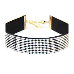 Dames Choker kettingen imitatie Diamond Enkele Draad Cirkelvorm Leder Strass Basisontwerp Europees Kostuum juwelen Sieraden Voor