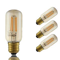 4W E26/E27 Żarówka dekoracyjna LED T 4 COB 350 lm Bursztynowy Ściemniana Dekoracyjna AC 220-240 V 4 sztuki