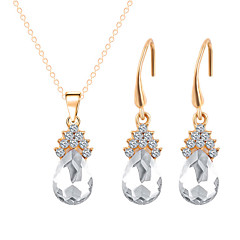 Jewelry 1 Necklace 1 Pair of Earrings Rhinestone Wedding Party Special Occasion Daily Casual Alloy Rhinestone 1set Gold Wedding Gifts