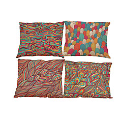 Set of 4 Floral  pattern Linen Pillowcase Sofa Home Decor Cushion Cover