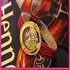 Women's Fashion Watch Simulated Diamond Watch Quartz Genuine Leather Band Casual Red
