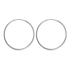Non Stone Hoop Earrings Jewelry Casual Sports Copper Silver Plated 1 pair Silver