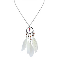 Women's Pendant Necklaces Feather Alloy Tassels Bohemian Fashion White Black Dark Blue Deep Green Rainbow Jewelry Casual 1pc