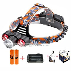 U'King® ZQ-X814R#2-US Three Head 1*T6/2*XPE 5000LM Zoomable Multifunction 4Modes Headlamp Bike Light Kits with Safety Rear LED