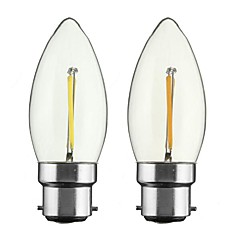 2PCS 2W B22/E27  LED  Filament Bulbs C35 2 COB 200 lm Warm White Dimmable AC 220-240 AC 110-130 V