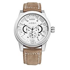MEGIR Men's Dress Watch Wrist watch Quartz Leather Band Casual Luxury Black Brown