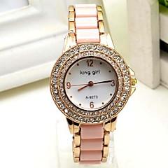 Women's Fashion Watch Simulated Diamond Watch Quartz Leather Band Pink
