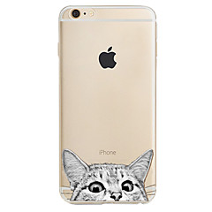 Para Estampada Capinha Capa Traseira Capinha Gato Macia TPU para AppleiPhone 7 Plus iPhone 7 iPhone 6s Plus/6 Plus iPhone 6s/6 iPhone