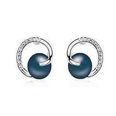 Stangøreringe Perle Lyserød Perle Legering Natur Mode Smykker Hvid Sort Mørkeblå Grå Kobber Smykker Daglig 1 par
