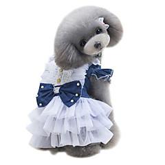 Perros Vestidos Ropa para Perro Verano Británico Adorable Moda Clásico Azul Oscuro Azul Claro