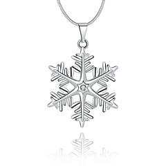 Dames Hangertjes ketting Kristal Geometrische vorm Sneeuwvlok Sterling zilver Kristal Gesimuleerde diamant Basisontwerp Uniek ontwerp