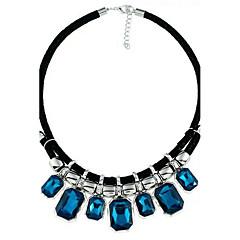 Damskie Oświadczenie Naszyjniki Kryształ Biżuteria Kryształ Nylon Stop Geometryczny White Dark Blue Gray Biżuteria NaŚlub Impreza
