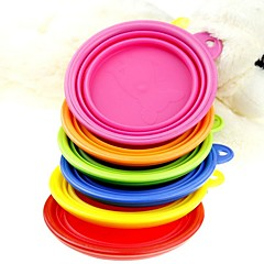Cat / Dog Bowls & Water Bottles Pet Bowls & Feeding Portable / Foldable Red / Green / Blue / Pink / Yellow / Orange Silicone