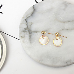 Round Stud Earrings Jewelry Fashion Daily Alloy Cowry 1 pair Gold