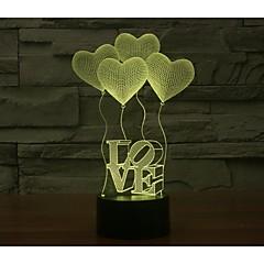 Valentinstag vier Liebe 3d Lichter bunte Touch visuelle dreidimensionale energiesparende Steigung Lampe