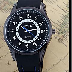 Men's Fashion Watch Quartz Silicone Band Casual Black