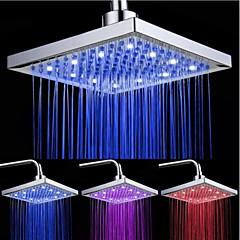 Top-Spray Duschkopf mit tricolor leuchtende Farbtemperatur / 8-Zoll-Wasser-Booster Top-Spray (abs Plating)