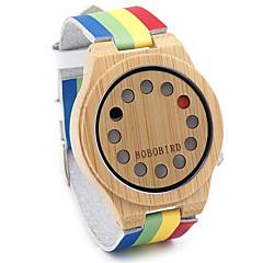 Miesten Muotikello Rannekello Ainutlaatuinen Creative Watch Arkikello Kello Wood Japani Quartz Japanilainen kvartsi puinen Aito nahka