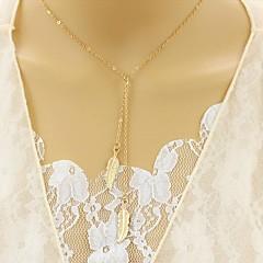 여성용 계층화 된 목걸이 다이아몬드 Leaf Shape 합금 유니크 디자인 Euramerican 보석류 용 파티 일상 캐쥬얼 1PC