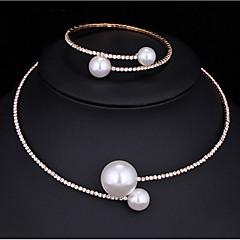 Set de Bijoux Collier de perles Perle imitée Zircon cubique Mode Multivoies Porter Alliage Forme Ronde Argent 1 Collier 1 Bracelet Pour