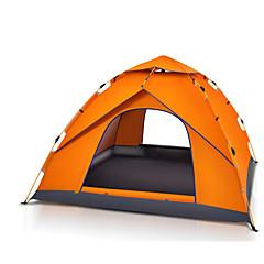 3-4 사람 텐트 싱글 자동 텐트 원 룸 캠핑 텐트 2000-3000 mm 유리 섬유 옥스퍼드 방수 휴대용-하이킹 캠핑