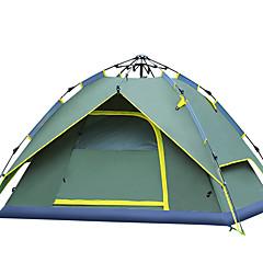 3-4 사람 텐트 더블 베이스 자동 텐트 원 룸 캠핑 텐트 유리 섬유 자외선 저항력 바람 방지-하이킹 캠핑-그린