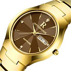 Hombre Reloj de Moda Cuarzo Calendario Aleación Banda Negro Plata Dorado