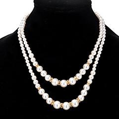 Damskie Pasemka Naszyjniki Pearl imitacja Stop Okrąg Biżuteria Na Impreza Codzienny Casual