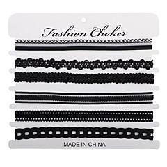 Női Lány Rövid nyakláncok Sál nyakláncok Ékszerek Round Shape CsipkeKarika Egyedi Szalagok Szerelem Szív Kör Régies (Vintage) Állítható